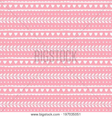 Valentine seamless pattern. Hearts and leaves repeat on soft pink background. Cute lovely vector texture for valentine or wedding design.