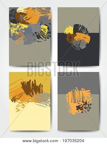Modern grunge brush design templates, vector cards, invitation, banner, handmade texture design in bright colors