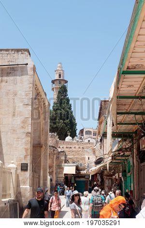 Jerusalem Israel July 14 2017 : Silent streets in the old city of Jerusalem Israel. Market in the Shuk ha Tsaba'im street.
