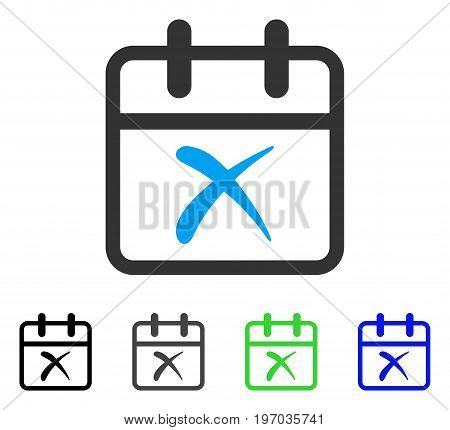 Cancel Day flat vector pictogram. Colored cancel day gray, black, blue, green pictogram variants. Flat icon style for web design.