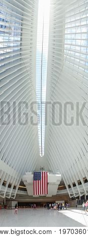 NEW YORK, USA - MAY 05, 2017: Unidentified people looking up at the interior of Santiago Calatrava's Oculus New York, the multi-billion dollar transportation hub in lower Manhattan in New York Usa.