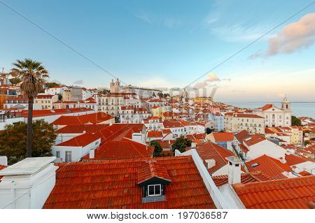 Aerial view of the city from the observation deck. The Monastery of Sao Vicente de Fora. Lisbon. Portugal.