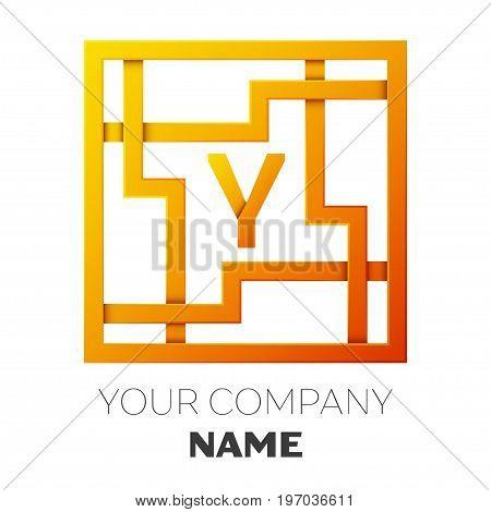 Realistic Letter Y vector logo symbol in the colorful square maze on white background. Shadow Breaks. Vector template for your design