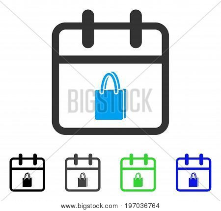 Shopping Day flat vector pictogram. Colored shopping day gray, black, blue, green pictogram versions. Flat icon style for graphic design.