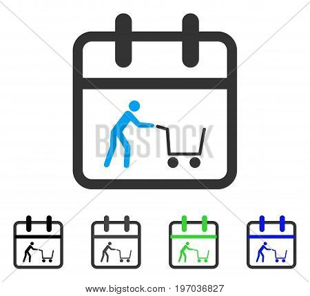 Shopping Day flat vector pictogram. Colored shopping day gray, black, blue, green icon variants. Flat icon style for graphic design.