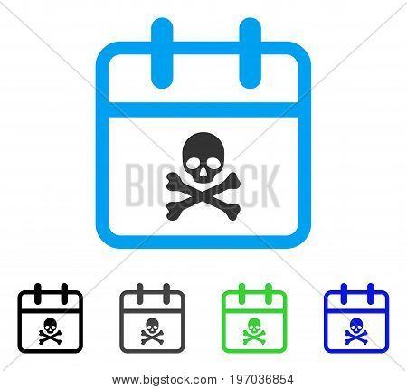 Skull Deadline Day flat vector illustration. Colored skull deadline day gray, black, blue, green pictogram variants. Flat icon style for application design.