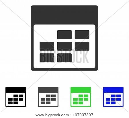 Calendar Month Grid flat vector illustration. Colored calendar month grid gray, black, blue, green pictogram versions. Flat icon style for graphic design.