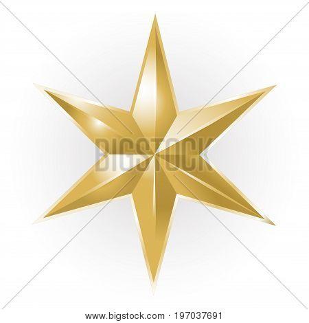Golden luxury Christmas star on white background