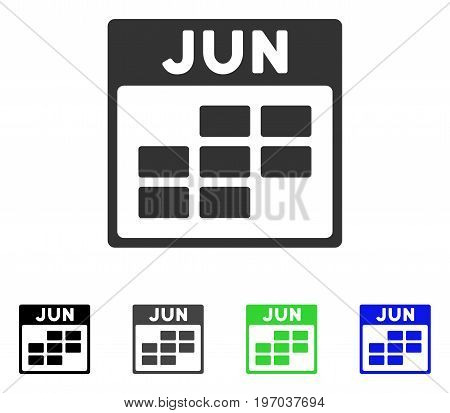 June Calendar Grid flat vector icon. Colored june calendar grid gray, black, blue, green icon variants. Flat icon style for web design.
