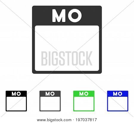 Monday Calendar Page flat vector pictogram. Colored monday calendar page gray, black, blue, green pictogram variants. Flat icon style for application design.