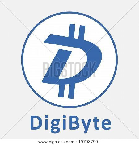 DigiByte (DGB) decentralized blockchain  criptocurrency vector logo.