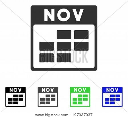 November Calendar Grid flat vector illustration. Colored november calendar grid gray, black, blue, green icon variants. Flat icon style for graphic design.