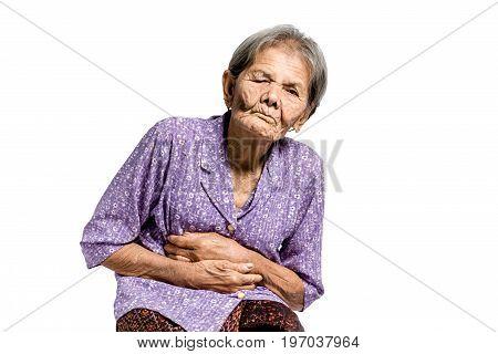 Portrait Of A Senior Woman Having An Stomachache