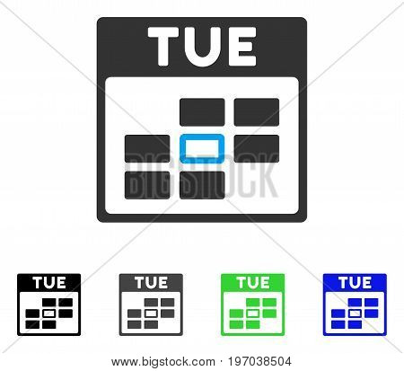 Tuesday Calendar Grid flat vector illustration. Colored Tuesday calendar grid gray, black, blue, green pictogram variants. Flat icon style for application design.