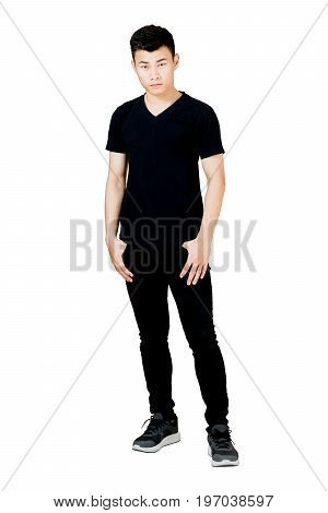Portrait Of A Man Standing In Black T-shirt And Black Jeans. Isolated Full Length On White Backgroun