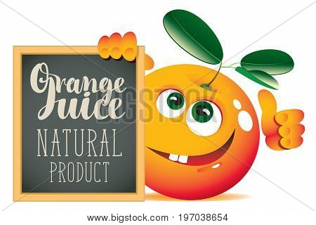 Vector banner for fresh juice with funny orange and blackboard with inscription Orange juice