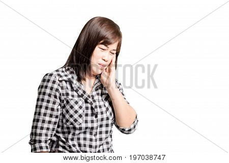 Portrait Of A Mature Woman With A Toothache. Isolated On White Background With Clipping Path