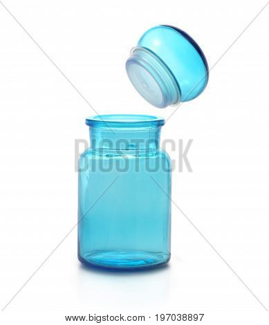 Chemical flask opened with cap against white background