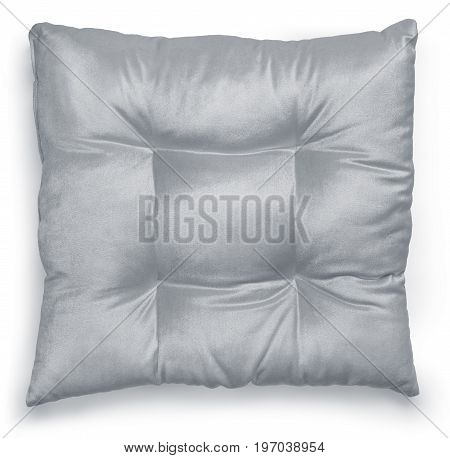 Gray color cushion on white background. Clipping path