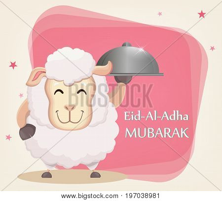 Festival of sacrifice Eid-Ul-Adha. Traditional muslin holiday. Greeting card with funny sheep holding cloche. Vector illustration on abstract background.
