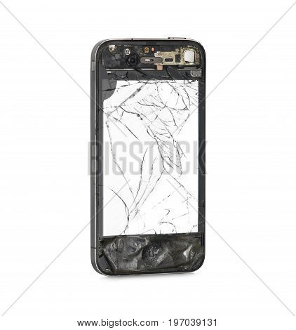 Damaged front side smartphone with white screen. Isolated on white background. Clipping path