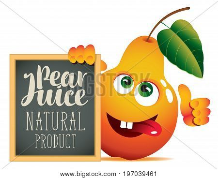 Vector banner for fresh juice with funny pear and blackboard with inscription Pear juice