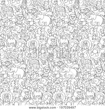 Animal outline toys on abstract wave background seamless pattern. Fun wallpaper for coloring books, textile prints.