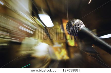 Microphone on stage for sound music concert entertainment background.