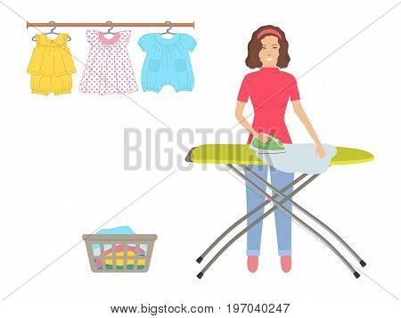 Young woman ironing clothes on ironing board. There is also a rack with baby clothes on hangers and basket with washed linen in the picture. Vector flat illustration.
