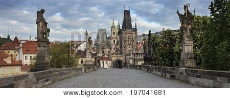 Charles Bridge in city Prague Czech Republic in the morning