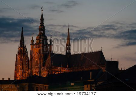 Saint Vitus Cathedral in city Prague at night