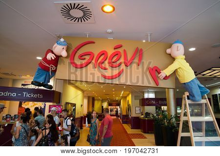 Prague, Czech republic, July 22, 2017: Entrance in Grevin museum of the wax figures in Prague.