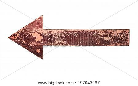 Close up of an old rusty arrow sign isolated on white background