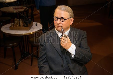 Prague, Czech republic, July 22, 2017: Josef Lada in Grevin museum of the wax figures in Prague.