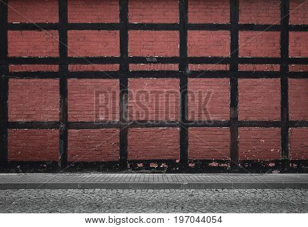 Old red urban background with copy space
