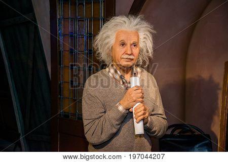 Prague, Czech republic, July 22, 2017: Albert Einstein in Grevin museum of the wax figures in Prague.