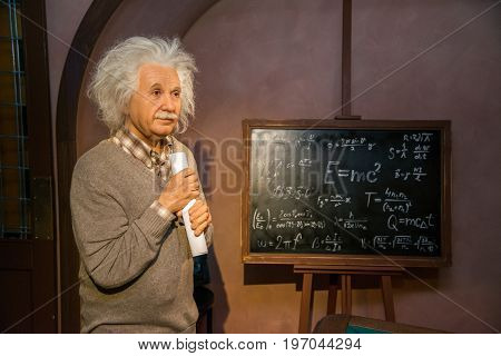 Prague, Czech republic, July 22, 2017: Albert Einstein in Grevin museum of the wax figures in Prague.