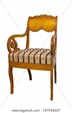 Antique Biedermeier chair isolated on white with authentic fabric and wood carving