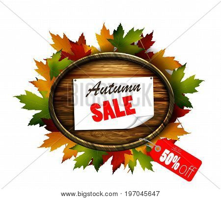 Vector realistic illustration of autumn sale wooden signboard.