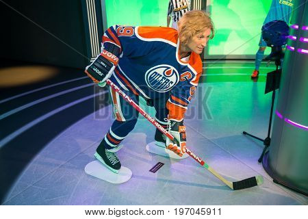 Prague, Czech republic, July 22, 2017: Wayne Gretzky in Grevin museum of the wax figures in Prague.