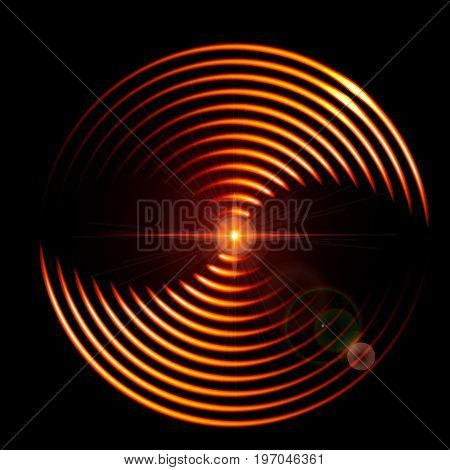 Abstract vector background with a fiery DJ mix cover with music waveform a dark background.