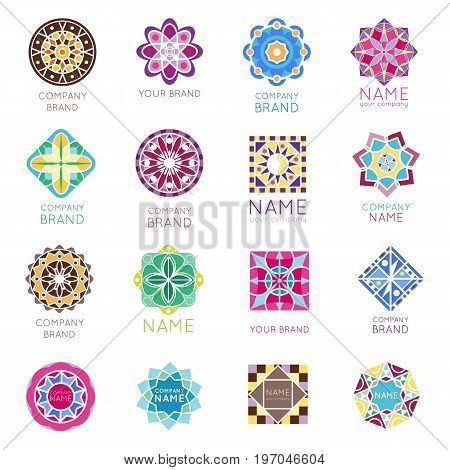 Abstract triangular polygonal shape kaleidoscope geometry company brand logo badge template circle decorative vector icon.. Oriental floral indian round abstraction ethnic mandala vintage motive.