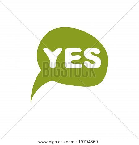Green checkmark with yes word approved. Vector verify sign isolated on white.