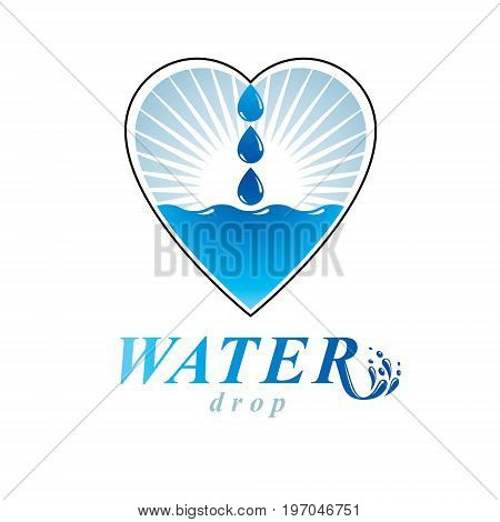 Ocean freshness theme vector logo. Water cleansing advertisement. Alternative medicine concept.
