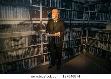 Prague, Czech republic, July 22, 2017: Tomas Garyk Masaryk in Grevin museum of the wax figures in Prague.