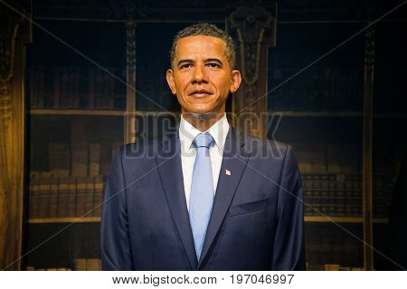 Prague, Czech republic, July 22, 2017: Barack Obama in Grevin museum of the wax figures in Prague.