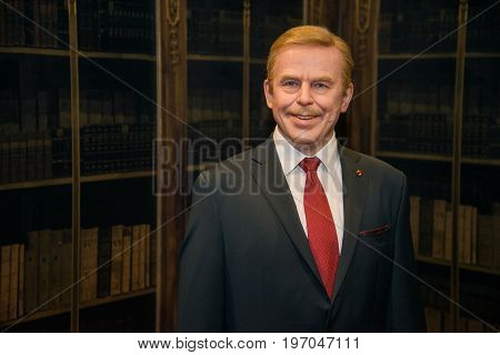 Prague, Czech republic, July 22, 2017: Vaclav Havel in Grevin museum of the wax figures in Prague.