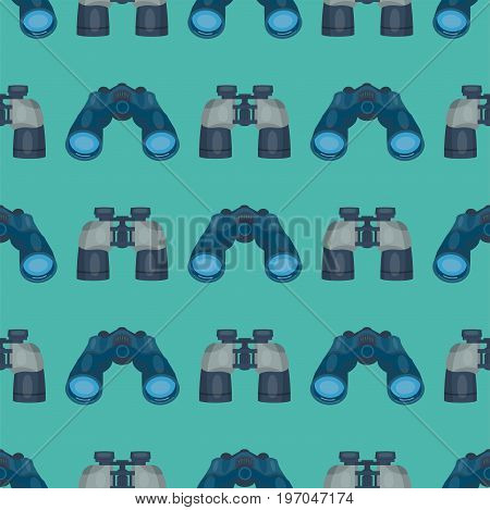 Professional seamless pattern lens binoculars glass look-see spyglass optic device camera digital focus optical equipment vector illustration. Lorgnette night-vision technology look-see instrument.