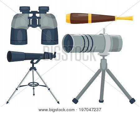 Professional camera lens binoculars glass look-see spyglass optic device camera digital focus optical equipment vector illustration. Lorgnette night-vision technology look-see instrument.