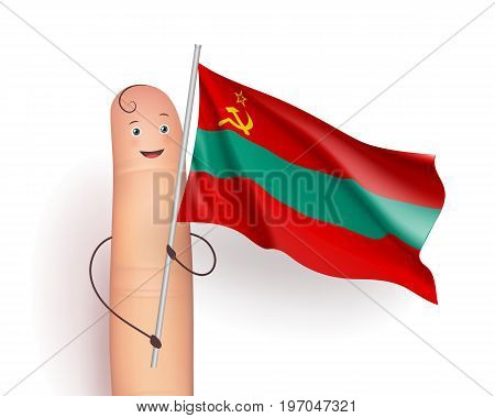 Transnistria waving flag. Finger person happy holding it. European unrecognized and with unlimited recognition state. Vector realistic illustration on white background